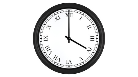 o'clock: Realistic 3D render of a wall clock with Roman numerals set at 4 oclock, isolated on a white background.