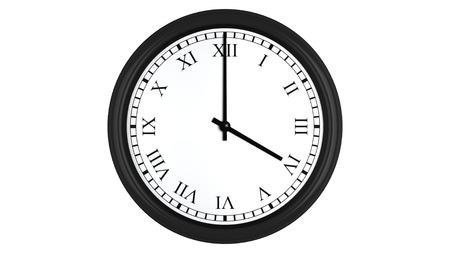 numeros romanos: Render 3D realista de un reloj de pared con números romanos establecidos en cuatro, aislados en un fondo blanco.