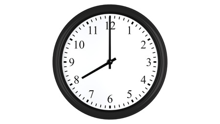 hour hand: Realistic 3D render of a wall clock set at 8 oclock, isolated on a white background.