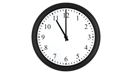Realistic 3D render of a wall clock set at 11 o'clock, isolated on a white background. Standard-Bild