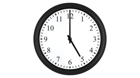 o'clock: Realistic 3D render of a wall clock set at 5 oclock, isolated on a white background. Stock Photo