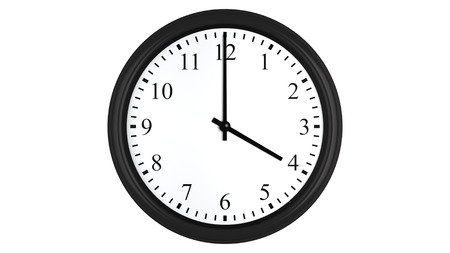 oclock: Realistic 3D render of a wall clock set at 4 oclock, isolated on a white background.