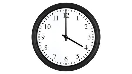 punctuality: Render 3D realista de un reloj de pared fijado en cuatro, aislado en un fondo blanco.