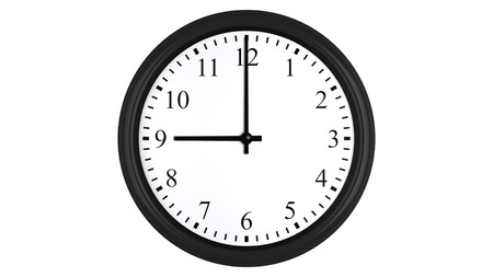 Realistic 3D render of a wall clock set at 9 o'clock, isolated on a white background.