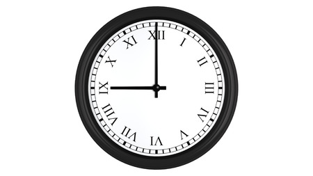 oclock: Realistic 3D render of a wall clock with Roman numerals set at 9 oclock, isolated on a white background.