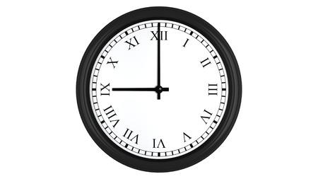 numeros romanos: Render 3D realista de un reloj de pared con números romanos establecidos en 9:00, aislados en un fondo blanco.