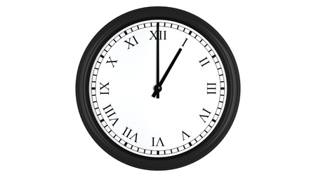 oclock: Realistic 3D render of a wall clock with Roman numerals set at 1 oclock, isolated on a white background.