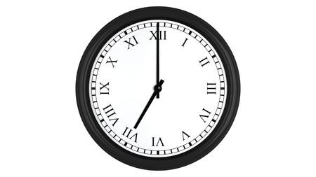 o�??clock: Render 3D realista de un reloj de pared con n�meros romanos establecidos en 7:00, aislados en un fondo blanco. Foto de archivo
