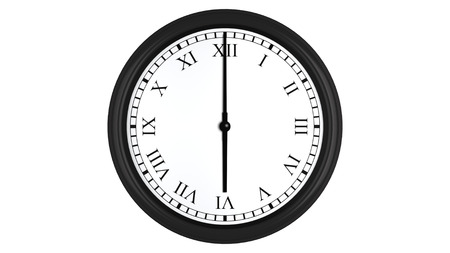 o'clock: Realistic 3D render of a wall clock with Roman numerals set at 6 oclock, isolated on a white background. Stock Photo