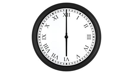 o�??clock: Render 3D realista de un reloj de pared con n�meros romanos establecidos en seis, aislados en un fondo blanco.