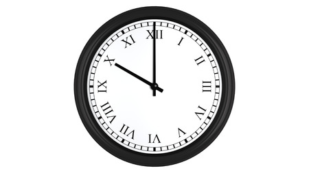 numerals: Realistic 3D render of a wall clock with Roman numerals set at 10 oclock, isolated on a white background. Stock Photo
