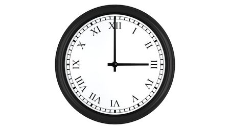 oclock: Realistic 3D render of a wall clock with Roman numerals set at 3 oclock, isolated on a white background.