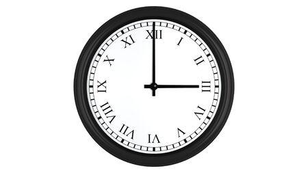 o�??clock: Render 3D realista de un reloj de pared con n�meros romanos establecidos a tres, aislados en un fondo blanco. Foto de archivo