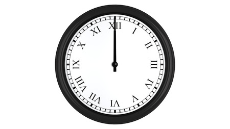 12 o clock: Realistic 3D render of a wall clock with Roman numerals set at 12 oclock, isolated on a white background.