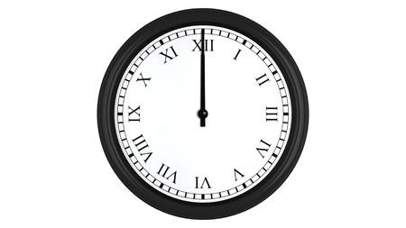 numeros romanos: Render 3D realista de un reloj de pared con números romanos establecidos a las 12 horas, aislados en un fondo blanco.