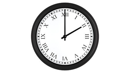 oclock: Realistic 3D render of a wall clock with Roman numerals set at 2 oclock, isolated on a white background.