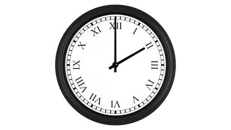punctuality: Render 3D realista de un reloj de pared con n�meros romanos establecidos en dos, aislados en un fondo blanco. Foto de archivo