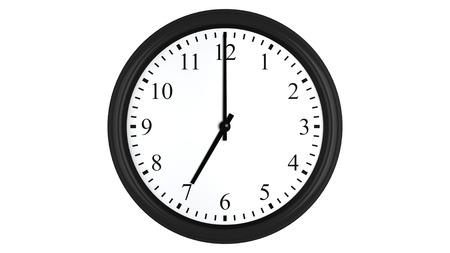 현실적인 3D 렌더링 벽 시계 흰색 배경에 고립 된 7시에 설정합니다.