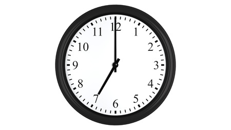 o�??clock: Render 3D realista de un reloj de pared fijado en siete, aislado en un fondo blanco.