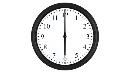 oclock: Realistic 3D render of a wall clock set at 6 oclock, isolated on a white background.