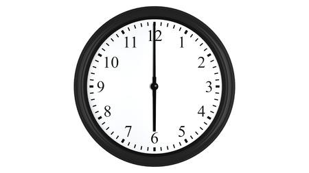 o�??clock: Render 3D realista de un reloj de pared fijado en seis, aislado en un fondo blanco.