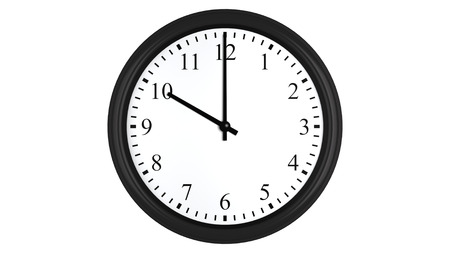 oclock: Realistic 3D render of a wall clock set at 10 oclock, isolated on a white background. Stock Photo
