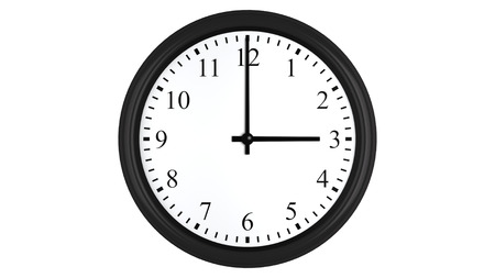 Realistic 3D render of a wall clock set at 3 o'clock, isolated on a white background. Standard-Bild