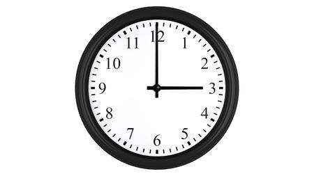 o�??clock: Render 3D realista de un reloj de pared fijado en tres, aislado en un fondo blanco. Foto de archivo