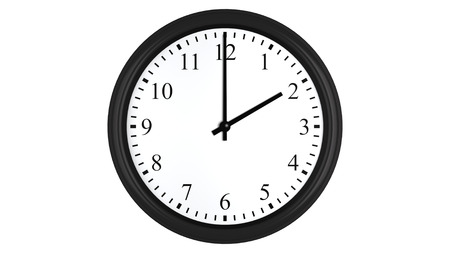 oclock: Realistic 3D render of a wall clock set at 2 oclock, isolated on a white background.