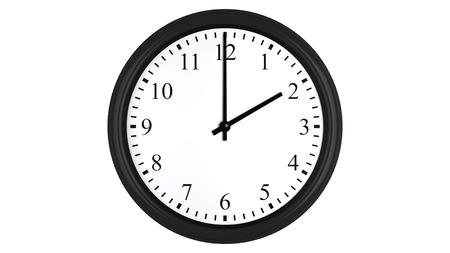 o�??clock: Render 3D realista de un reloj de pared fijado en dos, aislado en un fondo blanco. Foto de archivo