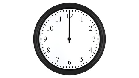 Realistic 3D render of a wall clock set at 12 o'clock, isolated on a white background. Standard-Bild