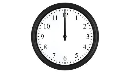 o�??clock: Render 3D realista de un reloj de pared fijado a las 12 horas, aislado en un fondo blanco.