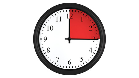 Wall clock showing a 15 minutes red time interval, isolated on a white background. Realistic 3D computer generated image.