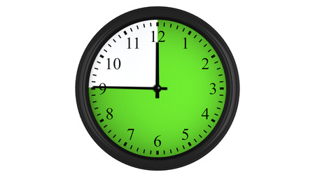 interval: Wall clock showing a 45 minutes green time interval, isolated on a white background. Realistic 3D computer generated image. Stock Photo