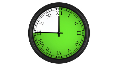 timekeeping: Wall clock with Roman numerals showing a 45 minutes green time interval, isolated on a white background. Realistic 3D computer generated image.
