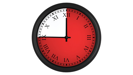 timekeeping: Wall clock with Roman numerals showing a 45 minutes red time interval, isolated on a white background. Realistic 3D computer generated image.