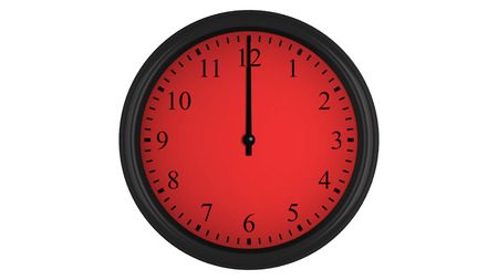 timekeeping: Wall clock showing a 60 minutes red time interval, isolated on a white background. Realistic 3D computer generated image.