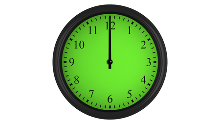 interval: Wall clock showing a 60 minutes green time interval, isolated on a white background. Realistic 3D computer generated image. Stock Photo