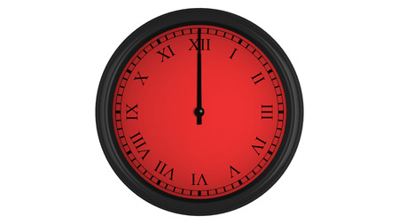 interval: Wall clock with Roman numerals showing a 60 minutes red time interval, isolated on a white background. Realistic 3D computer generated image.