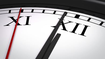 o'clock: Close-up of a clock with Roman numerals, several seconds before striking twelve oclock. Realistic 3D computer generated image. Stock Photo