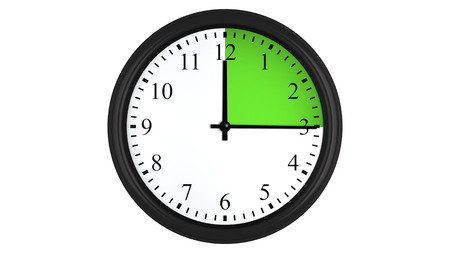 Wall clock showing a 15 minutes green time interval, isolated on a white background. Realistic 3D computer generated image. Stock Photo