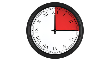 timekeeping: Wall clock with Roman numerals showing a 15 minutes red time interval, isolated on a white background. Realistic 3D computer generated image.