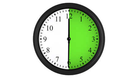 Wall clock showing a 30 minutes green time interval, isolated on a white background. Realistic 3D computer generated image.