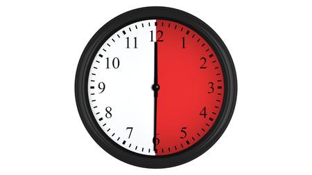 wall watch: Wall clock showing a 30 minutes red time interval, isolated on a white background. Realistic 3D computer generated image.
