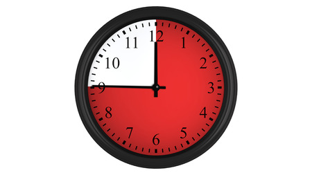 interval: Wall clock showing a 45 minutes red time interval, isolated on a white background. Realistic 3D computer generated image.