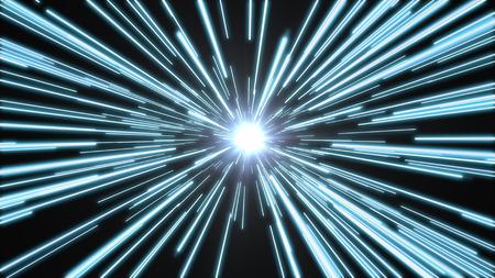 Blauwe lichten vliegen voorbij met hoge snelheid, met een helder wit licht aan het einde van de tunnel.