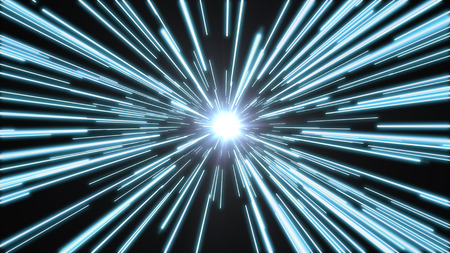 Blue lights flying past at high speed, with a bright white light at the end of the tunnel. Stock Photo