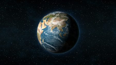 earth space: Realistic Earth centered on the Asian continent, with stars in the background