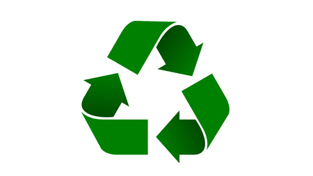 Universal recycle icon. Green color with shadows.