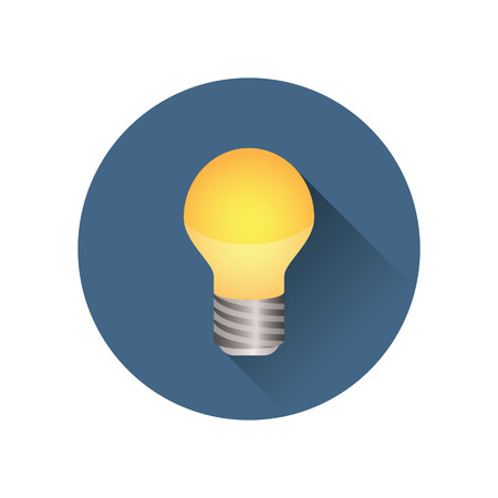 Light bulb in blue icon shining brightly. Colored version in a blue circle. Minimalistic design. Illustration